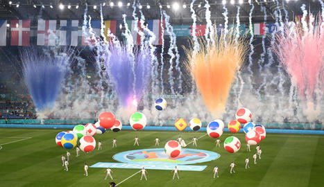 Els jugadors d'Itàlia celebren el segon gol davant Turquia, obra de Ciro Immobile.