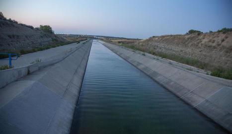 El tram del canal en què va tenir lloc el succés, als afores de la capital de l'Urgell.