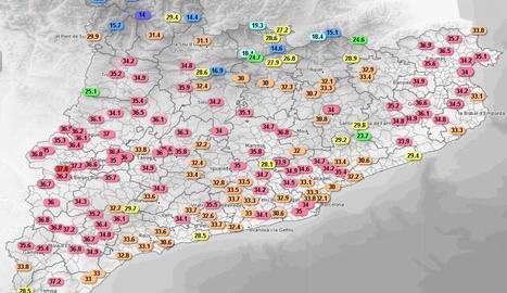 Les temperatures màximes d'avui.
