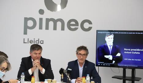 Antoni Cañete i Xavier Caufapé en un moment de la roda de premsa.
