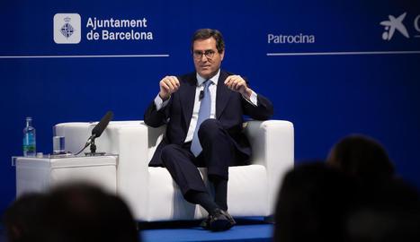 Antonio Garamendi, president de la CEOE, ahir, a la reunió anual del Cercle d'Economia.