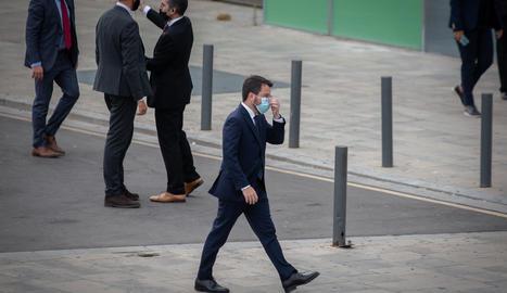 El president de la Generalitat, Père Aragonés, a la seua arribada al W Barcelona per assistir a un sopar inaugural de la XXXVI reunió anual del Cercle d'Economia el 16 de juny.