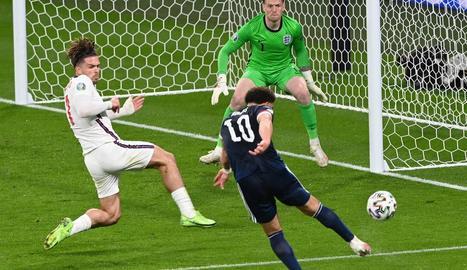 Escòcia va gaudir d'aquesta clara ocasió, però el marcador no es va moure ahir a Wembley.