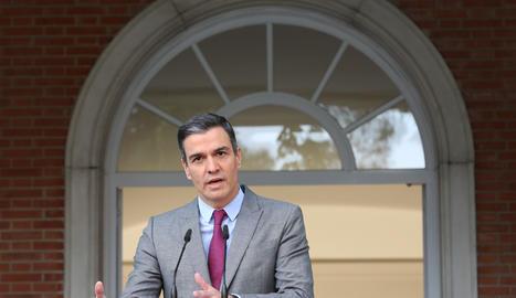 El president del Govern espanyol, Pedro Sánchez, realitza una declaració institucional després de la celebració del Consell de Ministres en el qual s'han aprovat els indults als presos independentistes