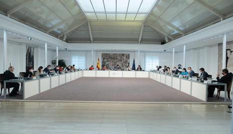 La reunió del Consell de Ministres al Palau de la Moncloa.