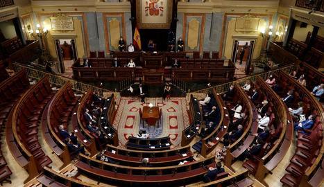 Vista general del Congrés dels Diputats durant l'acte d'homenatge celebrat ahir.