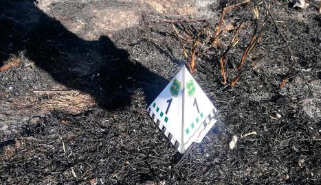 Imatge de la burilla localitzada pels Rurals als marges de l'N-230 on es va iniciar el foc.