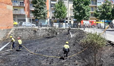 Els Bombers, ahir al foc a l'avinguda Pau Clarís de la Seu.