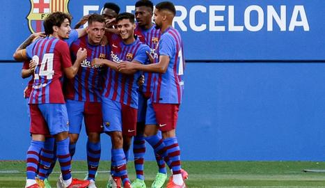Els jugadors del Barça celebren un dels gols.
