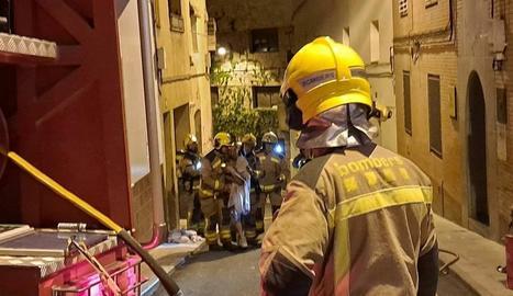 Bombers que ahir a la matinada van treballar en l'extinció de l'incendi a Almenar.