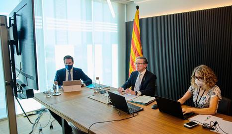 El conseller Jaume Giró, ahir durant la reunió telemàtica del Consell de Política Fiscal i Financera.
