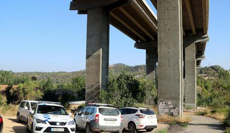 Punt d'accés a la zona on s'ha comès el delicte, en una zona de matolls entre el Pont de Vilomara i Sant Vicenç de Castellet