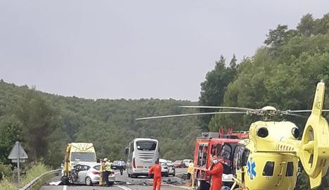 Imatge de l'accident mortal que va tenir lloc el 19 de juny a la C-14 a Bassella.