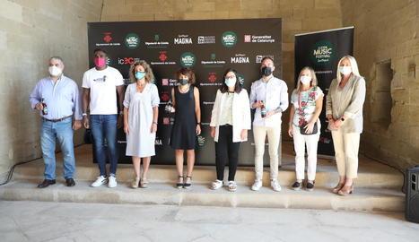 Presentació ahir al claustre de la Seu Vella de la primera edició del Lleida Music Festival.