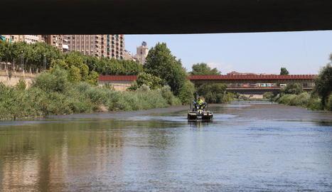 El vehicle amfibi retirant algues entre el pont dels Instituts i la passarel·la de Maristes, ahir.