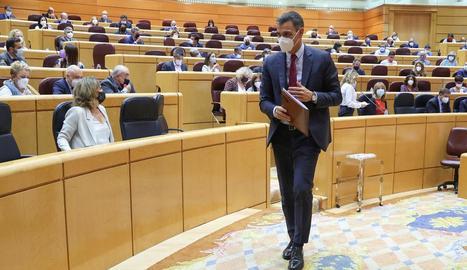 El president del Govern espanyol, Pedro Sánchez, ahir en la sessió de control al Senat.