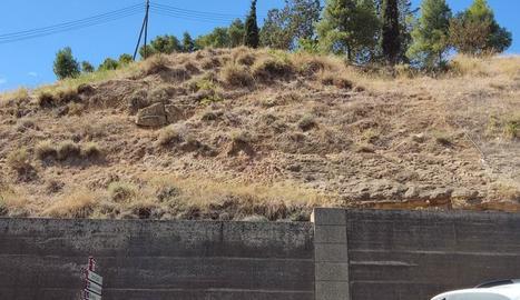 Tallen parcialment el carrer Cos-Gayón per perill de caiguda d'una roca de Gardeny