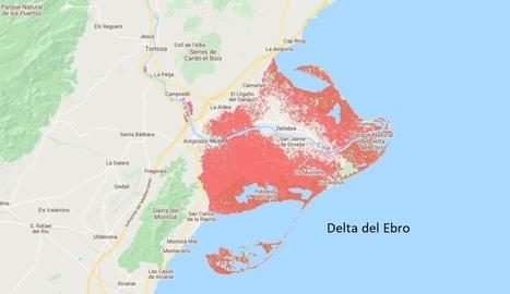 En rojo, la zona afectada por la subida del nivel del mar.