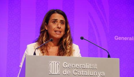 La portaveu del Govern, Patrícia Plaja, aquest dimarts en roda de prensa.