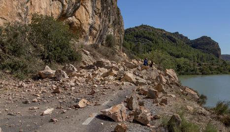 Estat de la carretera de Sant Llorenç diumenge passat.