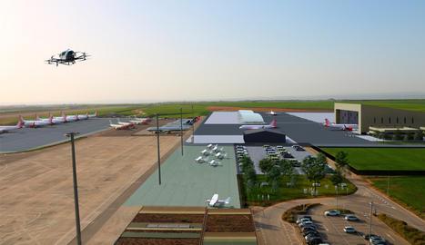 Imatge virtual dels nous edificis de l'aeroport de Lleida-Alguaire