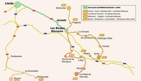 Mapa de les noves línies de bus a les Garrigues.