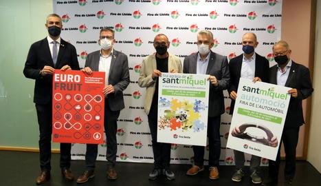 Bernat Solé, Joan Talarn, Miquel Pueyo, Jaume Saltó, Oriol Oró i Paco Cerdà, durant la presentació de la 67a Fira de Sant Miquel de Lleida.