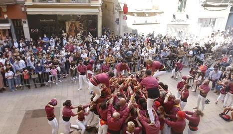 Els Castellers de Lleida tornen a actuar per les Festes de Tardor després de més d'un any i mig aturats