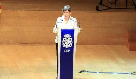 La delegada del govern espanyol a Catalunya, Teresa Cunillera, intervé en l'acte del Dia de la Policia Nacional, a l'Auditori de Barcelona.