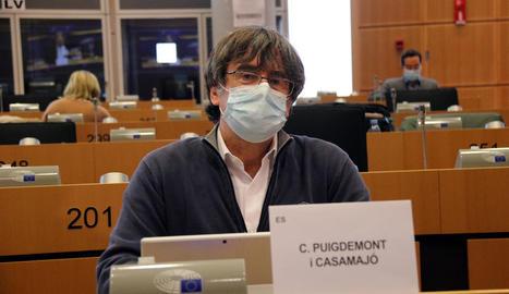 Puigdemont, ahir en una comissió de l'Eurocambra a Brussel·les.