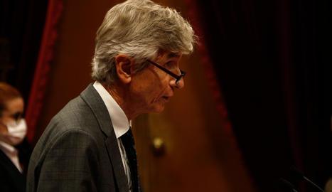 El conseller de Salut, Josep Maria Argimon, compareix al Parlament per explicar la situació de la pandèmia.