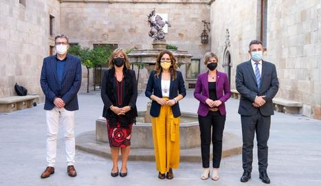 Presidents de les diputacions catalanes amb la consellera Vilagrà.