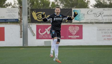 Moha Keita celebra el gol que va donar la classificació al Lleida.