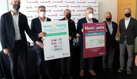 Presentació de Municipàlia 2021, amb l'alcalde de Lleida, Miquel Pueyo; el president de la Diputació, Joan Talarn; el delegat del Govern, Bernat Solé; Jaume Saltó, i Oriol Oró, el 14 d'octubre del 2021. (Horitzontal)