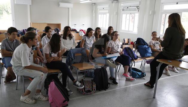 Una de les dos classes amb què l'institut d'Alpicat ha estrenat aquest dijous l'activitat.