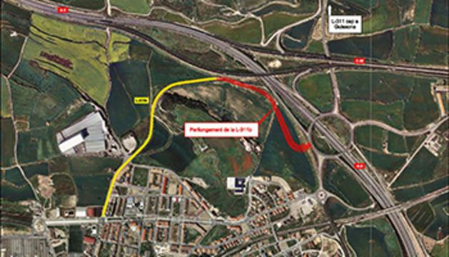 Mapa del nou accés de l'A-2 a Cervera.