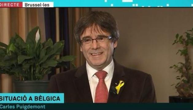 Un moment de l'entrevista a Carles Puigdemont al programa 'Els matins' de TV3.