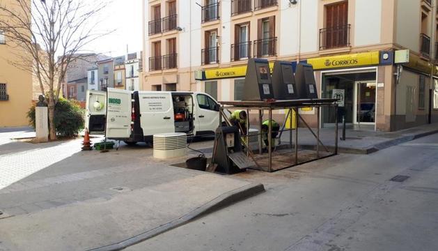 Una de les plataformes que s'arreglen al centre de Balaguer.