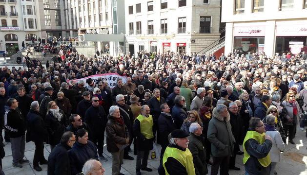Imagen de la protestas de pensionistas del jueves en Lleida.