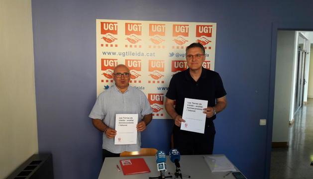 Moreno i Aguilà van presentar ahir l'estudi socioeconòmic i laboral de Lleida fet per UGT.