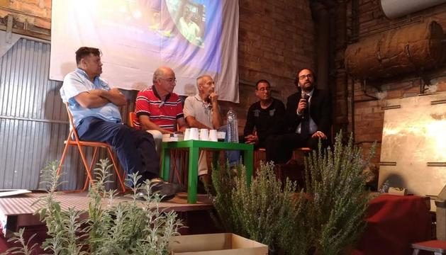 Gregorio J. Placeres, Josep Pàmies, Enric Cerqueda i Sisco Florez, ahir en la xarrada de Balaguer.