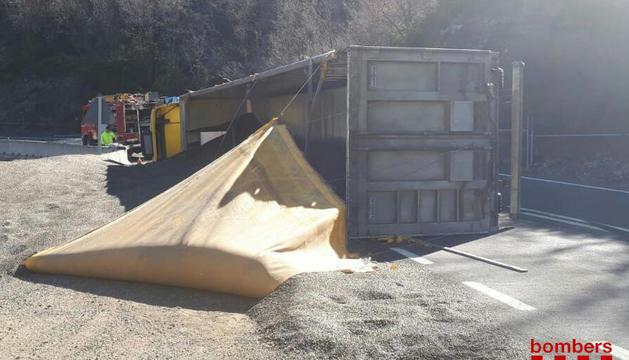 El camión volcado transportaba pipas de girasol.
