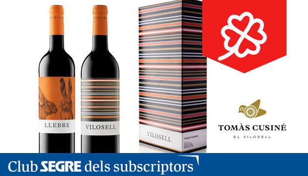 Les dos ampolles de vi del celler Tomàs Cusiné que composen cada un dels lots.