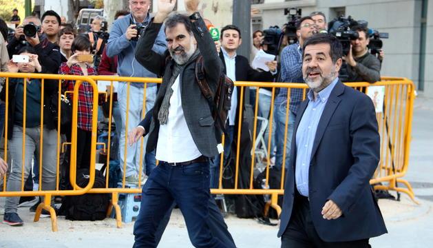 Jordi Sànchez i Jordi Cuixart el dia que van declarar davant de l'Audiència Nacional.