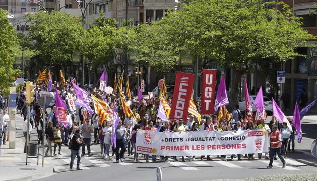 Imatge de la manifestació de l'1 de maig a Lleida en defensa d'ocupació de qualitat.
