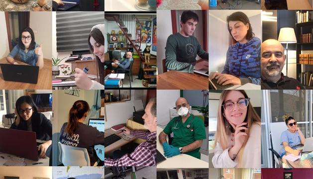 """Fotocomposició del professorat-alumnat-PAS de l'escola, treballant """"fort però virtualment"""""""