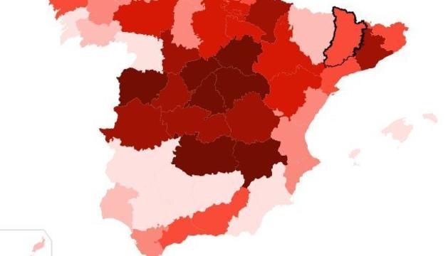 Mapa variació interanual de defuncions.