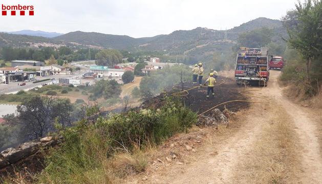 Imagen del incendio declarado en Ponts.