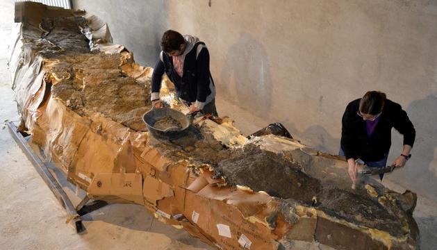 El fòssil de cinc metres del coll d'un dinosaure, 'embalat' al museu d'Isona el novembre del 2014.