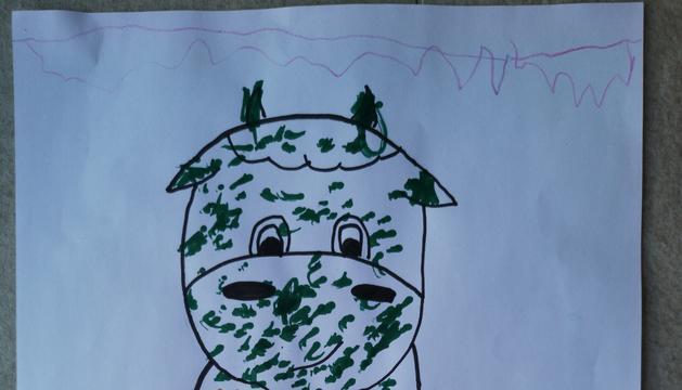 El dibuix de l'Èric Amado, de 4 anys, que ha resultat guanyador de la present edició del concurs 'La vaca de l'Esbaiola't'.